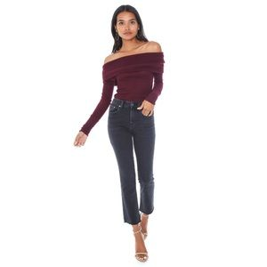 New Free People Red Ribbed Cold Shoulder Sweater